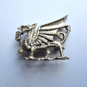 Sterling Silver Welsh Dragon Brooch Hallmarked